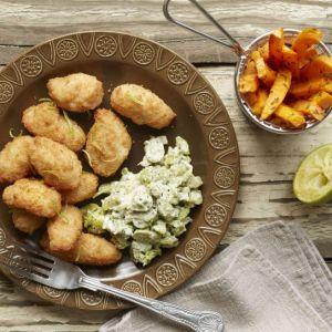Scampi with Minted Broad Beans